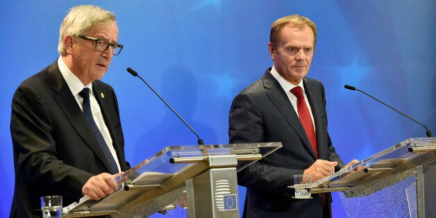 European Commission President Jean-Claude Juncker, left, and European Council President Donald Tusk,...