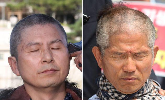 황교안 자유한국당 대표(왼쪽), 김문수 전 경기도지사(오른쪽)가 삭발식을 강행하고