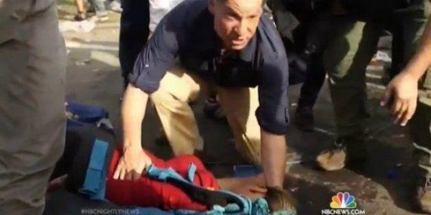 NBC 기자, 생방 중단하고 실신한 만삭 난민