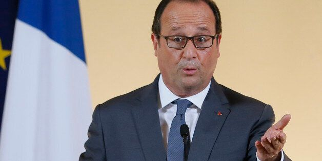 French president Francois Hollande delivers a speech during the launch of the 'Grande Ecole du Numerique'...