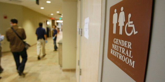 **ADVANCE FOR SUNDAY AUG. 26**A sign marks the entrance to a gender neutral restroom at the University...