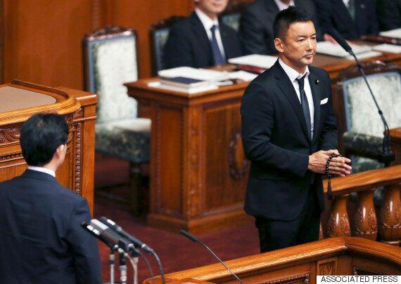 의회를 장례식장으로 만든 일본의 배우 출신 참의원(사진,