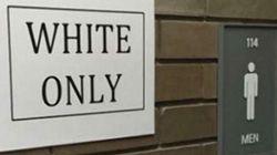 미국 대학 화장실에 붙은 '백인 전용' 표지
