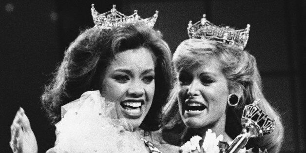 Vanessa Williams, the new Miss America, left, is shown as she is crowned, Saturday, Sept. 17, 1983 in...