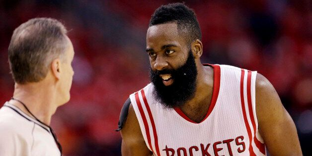 Houston Rockets guard James Harden (13) talks with an official during the second half in Game 4 of the...