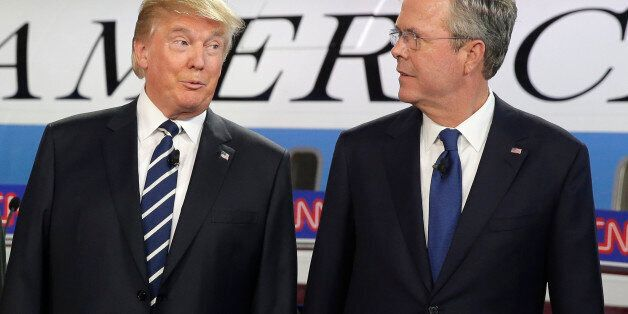 Republican presidential candidates, businessman Donald Trump, left, and former Florida Gov. Jeb Bush...