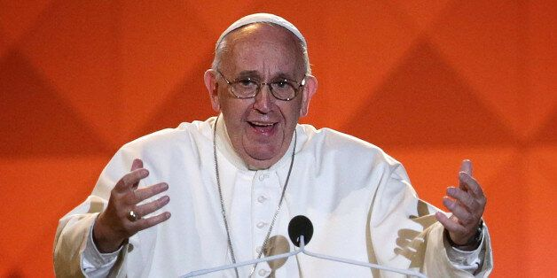 Pope Francis speaks during the closing ceremony for the World Meeting of Families, a Vatican-sponsored...