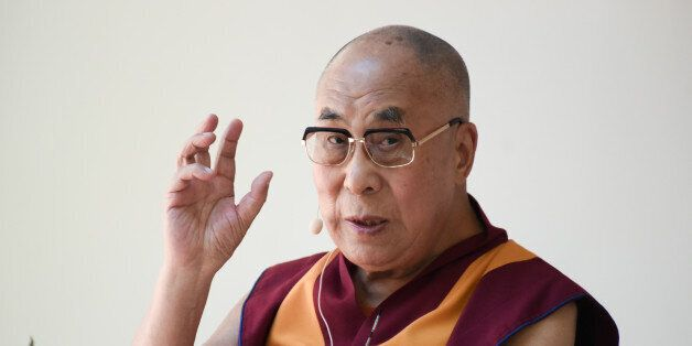The Dalai Lama speaks during the Peak Mind Foundation celebration held at Rancho Las Lomas on Saturday,...