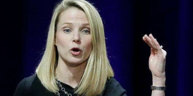 In this Feb. 19, 2015 photo, Yahoo President and CEO Marissa Mayer delivers the keynote address at the...