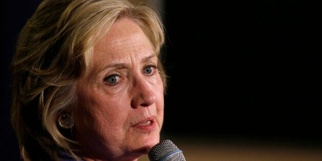 Democratic presidential candidate Hillary Rodham Clinton speaks during a campaign stop at Uncle Nancy's...