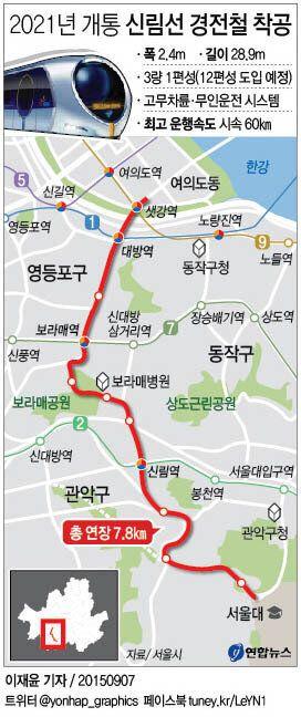 '출퇴근 25분 단축' 신림선 경전철 2021년