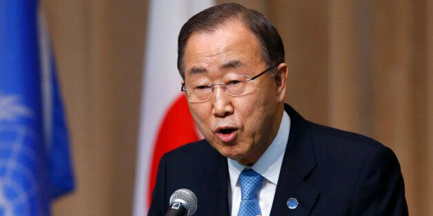 FILE- In this March 16, 2015, file photo, U.N. Secretary General Ban Ki-moon delivers a speech during...