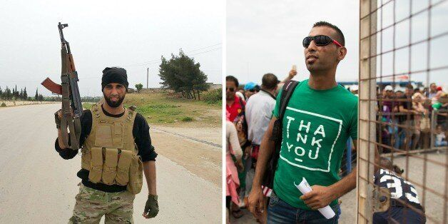 This combo picture shows, on the left, Syrian former rebel commander Laith Al Saleh, 30, posing with...