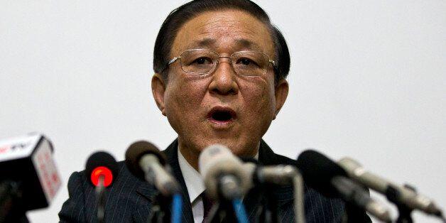 North Korean Ambassador to China Ji Jae Ryong speaks at a press conference held at the North Korean Embassy...