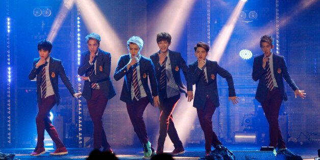 Members of South Korean-Chinese boy band EXO perform at the MTV World Stage Live in Malaysia, in Petaling...