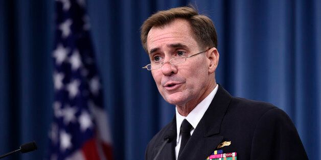 FILE - In this Sept. 2, 2014, file photo, Pentagon press secretary Navy Rear Adm. John Kirby speaks during...