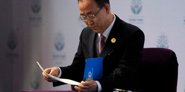 United Nations Secretary-General Ban Ki-Moon attends a conference organized by UN Women in Santiago,...
