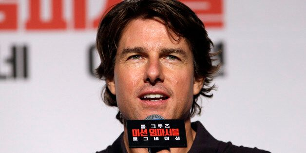 Actor Tom Cruise speaks during a press conference for his new