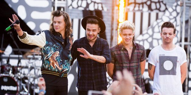 One Direction members, from left, Harry Styles, Liam Payne, Niall Horan and Louis Tomlinson perform on