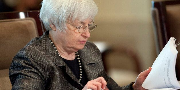 Federal Reserve Chair Janet Yellen with the Board of Governors of the Federal Reserve System presides...