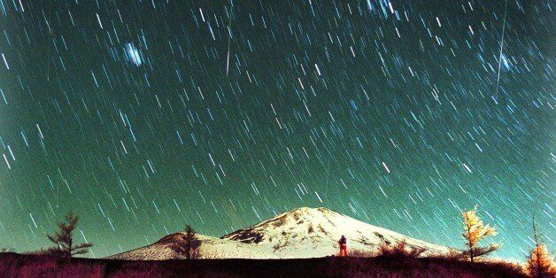Leonid meteors are seen streaking across the sky over snow-capped Mount Fuji, Japan's highest mountain,...