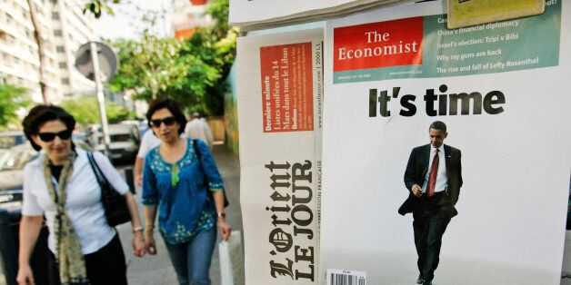 U.S. Presidential candidate Sen. Barack Obama is seen on the cover of The Economist magazine, on display...