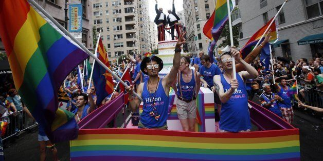IMAGE DISTRIBUTED FOR HILTON - Hilton Team Members celebrate Pride Month at NYC Pride as a Gold Sponsor,...