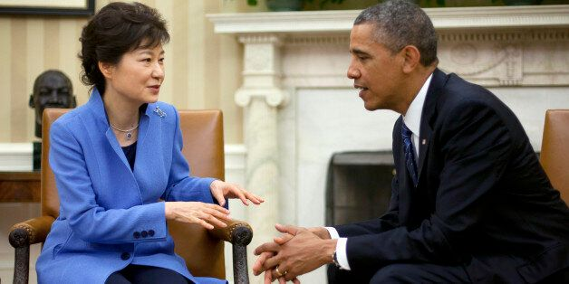 President Barack Obama, right, and South Korean President Park Geun-Hye, left, during their meeting in...