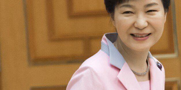 South Korean President Park Geun-hye awaits the arrival of U.S. Secretary of State John Kerry for a meeting...