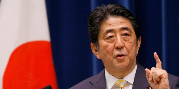 Japan's Prime Minister Shinzo Abe speaks during a press conference at his official residence in Tokyo,...