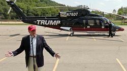 트럼프, 전용헬기 타고 나타나다