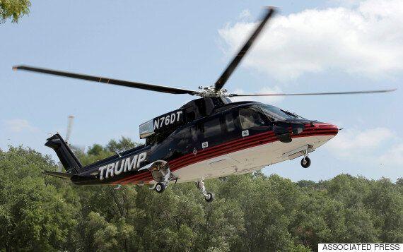 트럼프, 전용헬기 타고 요란스럽게 나타나다