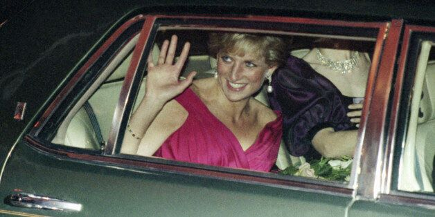 Her Royal Highness, Princess Diana of Wales leaves a benefit dinner for the Grandma's House, a home...