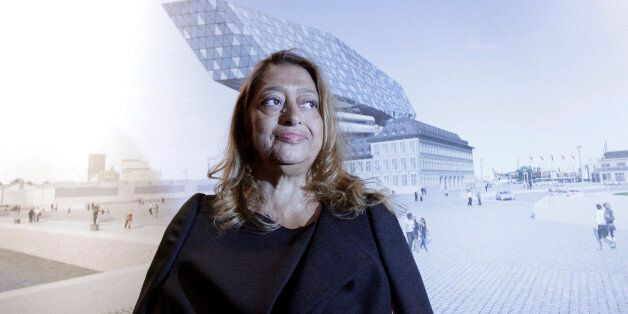 Iraqi born architect Zaha Hadid stands in front of her design of the new Port Authority headquarters...