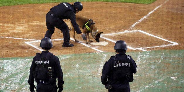 잠실 야구장에 폭발물이 있다는 제보에 수색