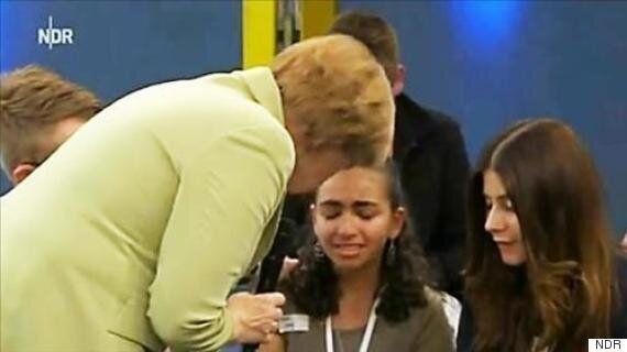 TV토론에서 추방당하고 싶지 않다는 난민 소녀의 호소를 들은 메르켈 독일 총리의