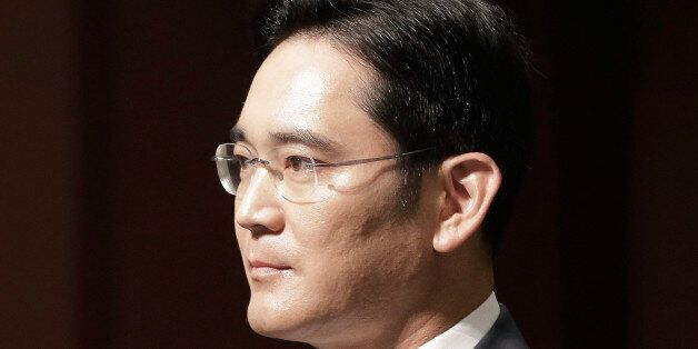 In this June 23, 2015, Lee Jae-yong, vice chairman of Samsung Electronics Co., arrives to attend a press...