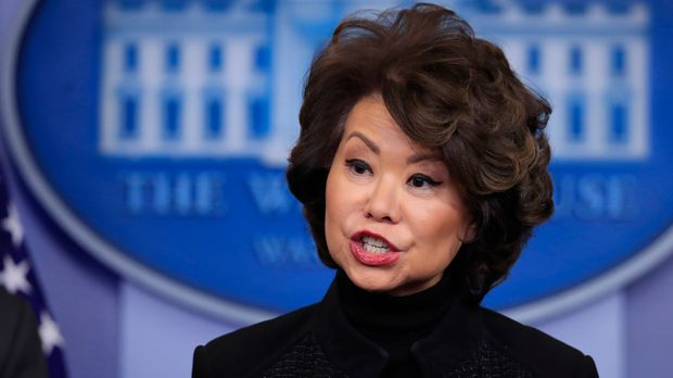 Transportation Secretary Elaine Chao talks to reporters during the daily press briefing in the Brady press briefing room at the White House, in Washington, Tuesday, Feb. 13, 2018. (AP Photo/Manuel Balce Ceneta)