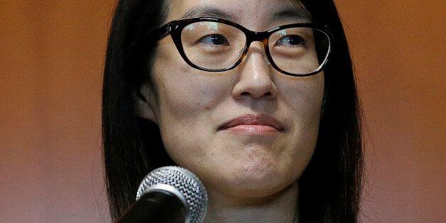 Ellen Pao speaks to members of the media at Civic Center Courthouse in San Francisco, Friday, March 27,...