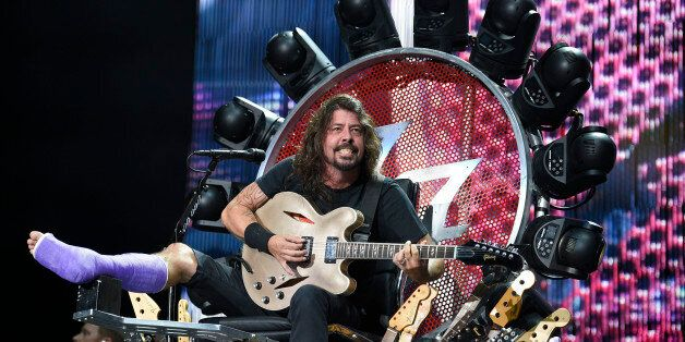 The Foo Fighters' Dave Grohl performs at RFK Stadium on Saturday, July 4, 2015, in Washington. (Photo...