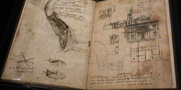 "Leonardo da Vinci's ""Codex on the Flight of Birds"" is displayed at the ""Leonardo da Vinci y la..."