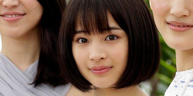 CORRECTS NAME SPELLING TO KAHO - From left, director Hirokazu Kore-eda, Masami Nagasawa, Suzu Hirose,...