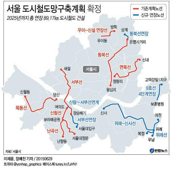 서울시, 10개 노선 90km 도시철도 구축 계획안