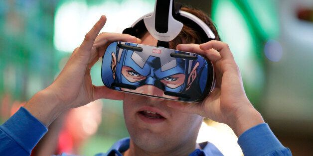 A brand ambassador tests Samsung's Gear VR headset at the Samsung Galaxy booth at the International CES...