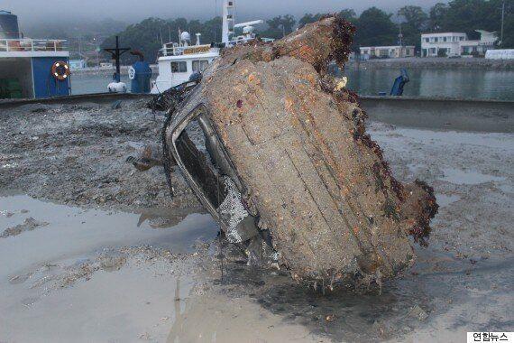 통영 바다에 빠진 승용차서 남녀 사체 추정 유골
