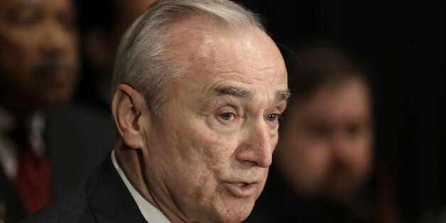 FILE - In this Jan. 7, 2015 file photo, New York City Police Commissioner Bill Bratton speaks to reporters...