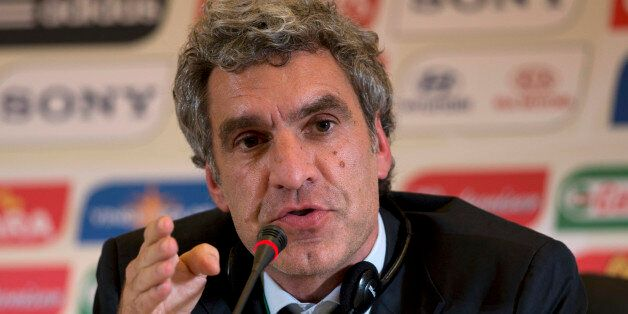 FIFA Communications Director Walter Di Gregorio speaks during a press conference after attending a local...