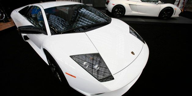 Lamborghini coupe and convertable are shown at the New York International Auto Show Wednesday, April...