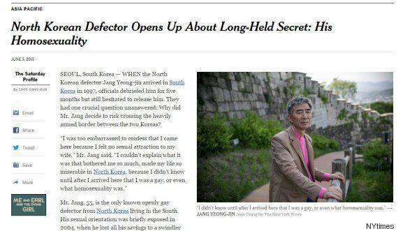 뉴욕타임스, 탈북 동성애 작가 장영진씨