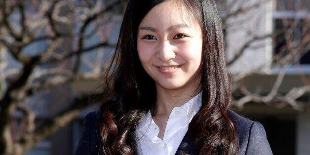 Japan's Princess Kako, younger daughter of Prince Akishino and Princess Kiko, poses on the campus of...